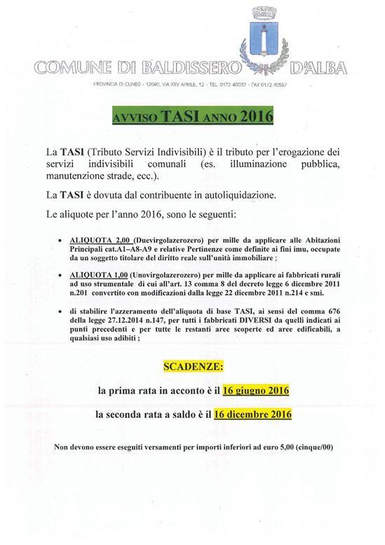 Comune di baldissero d 39 alba sito internet istituzionale - Scadenze di pagamento ...
